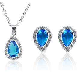 Water Drop Necklace Earrings Sets For Wedding Jewelry Fashion Alloy Ocean blue Crystal Best Jewelry Sets 1401