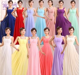 Wholesale Champagne Wedding Dress For Cheap - Cheap bridesmaid dresses long chiffon bridesmaids dresses for wedding party plus size prom evening dresses under 50 for women girls US2-24