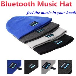 Bluetooth Music Knitted Hat Soft Warm Wireless Speaker Receiver Outdoor Sports Smart Cap Headset Headphone support for iphone 7 6s Samsung
