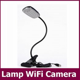 Wholesale Wifi Remote Intelligent Table Lamp P CCTV Mini Camera Motion Detection H Video code IR night version DVR USB Disk PC camcorder