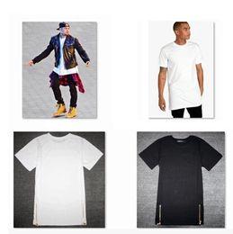 Wholesale-new gold zipper t shirt men brand men Long Zip T shirt oversized Extend drop t shirt Side gold Zipper Tee hip hop t shirt men