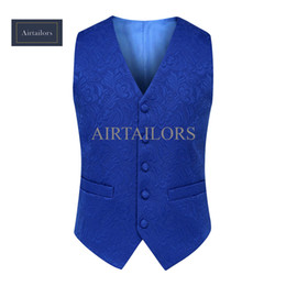 2018 Airtailors Mens Suit Vests Royal Blue Floral Blazer Designs Slim Groom Vests Prom Custom Made Wedding Vest Waistcoat Men
