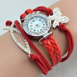 Wholesale Hot Sale Infinity Watches Weave Bracelet Watches Lady Wrap Watches Love Dream Cross Butterfly Elephant Leather Wrist Watches Mix Style