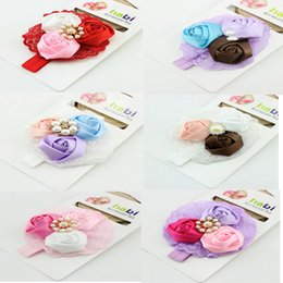 Fashion Baby Girl Toddler Infant Elastic Flowers Headbands Lovely Lace Flower Roses Hair Band Accessories