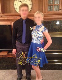 Fashion Jewel Neck Homecoming Dresses Cap Sleeves A-Line with Sequins Blue Chiffon Zipper Back 2016 Short Evening Party Gowns