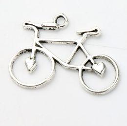 Wholesale 30 x23 mm Antique Silver Open Heart Bike Bicycle Charms Pendants Fashion Jewelry DIY Fit Bracelets Necklace Earrings L264