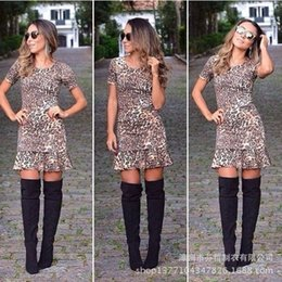 Wholesale AliExpress ebay trade nightclub sexy leopard hot models short sleeved dress short sleeve leopard skirt
