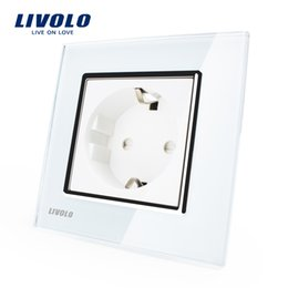 Wholesale Livolo EU Standard Power Socket White Crystal Glass Panel AC V A Wall Power Socket VL C7C1EU