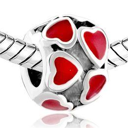 Valentine's Day Multiple Red Enamel Filigree Heart Love Charm European bead Fit Pandora Bracelet