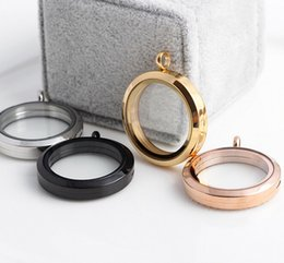 25mm Free shipping magnetic stainless steel floating locket round shape glass size slip charm jewelry necklace pendant