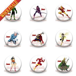 Wholesale Good news Avengers Spiderman Batman Ironman Kids badge cm set Cartoon button pin badge badge button gift kids collection