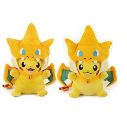 Mega tv en Línea-Venta al por menor 2016 calientes Pikachu Cosplay Charmander juguetes de peluche para los niños de dibujos animados regalo Pocket Monsters Pikachu Mega Charizard de peluche juguete de las muñecas