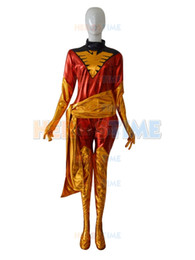 New red and gold Marvel X-men Phoenix Jean Grey Shiny metallic Superhero Costume Sell cheap