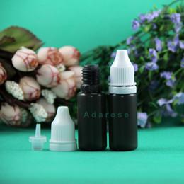 Big Sale 10 ML 100 Pcs LDPE BLACK Color Plastic Dropper Bottles With Tamper Proof Caps & Tips Safe Vapor Squeeze thin nipple