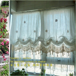 Wholesale Pastoral style adjustable balloon curtain living room shade white window treatment curtains for windows
