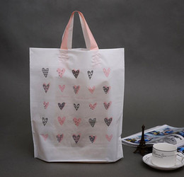 36*39*10CM Pink love Heart Shopping Packaging Bag With Handle, Packaging Plastic, Scarf Gift Bags,Clothing Bags