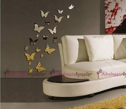 Wholesale Butterfly Wall Stickers Docors Art DIY Decorations Paper acrylic mirrors sitting room background flowers D wall stickers