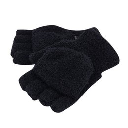 Wholesale-New Men Women Gloves Winter Warm Half Finger Flip Knitted Mittens Glove Hot Sale 6 Colors