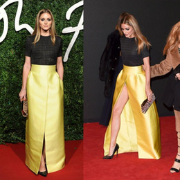 Yellow Satin Longs Skirts For Women Sheath Zipper Waist Skirts A Line Ladies Bust Skirt Split Front Formal Ready To Wear Sexy Party Gown