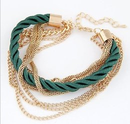 Wholesale 2015 Fashion Women Jewelry Multi Layer Adjustable Gold Link Chains Patchwork Lobster Clasp Arm Candy Bracelets Accessories