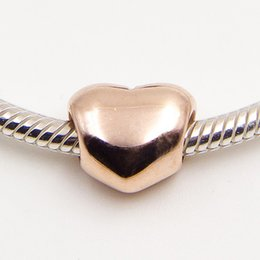 925 Sterling Silver & Rose Gold plated Big Heart Charm Bead Fits European Pandora Jewelry Bracelets & Necklaces Necklaces & Pendants