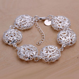Hot sale best gift 925 silver Hollow flower bracelet series DFMCH235, Brand new sterling silver plate Chain link bracelets high grade