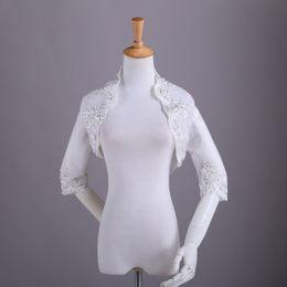 Real Image Embroidery Lace Edge Bead Bridal Jacket High Neck Half Sleeve White Or Ivory Bridal Wraps Bolero for Wedding Cheap Coats