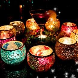 Wholesale 2015 Hot Mosaic Shining Glass Candle Holder Hand Made Romantic Votive Lanterns For Bar Wedding Decoration color
