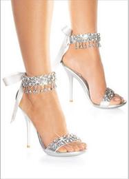 Wholesale New fashion wedding bridal shoes women s sandals high heel shoes silver bridal shoes rhinestone shoes wedding shoes