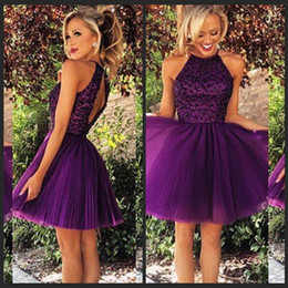 2017 Cute Short Prom Dresses PurplHigh Neck Beaded Backless Cheap Junior Girls Graduation Dresses Party Dresses Homecoming Gowns