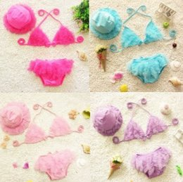 Wholesale Korean Tulle Shirt - 2015 NEW ARRIVAL baby girl kids Korean Swimming suits Bikini sets ruffles lace tulle tops shirt vest + pants bloomers shorts + hat cap sets