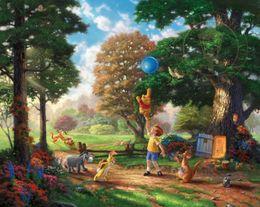 Wholesale Thomas Kinkade Winnie The Pooh Alan Alexander Milne Decor Prints Realistic Oil Painting Printed On Canvas