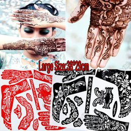 Wholesale 2pcs glitter Indian henna tattoo stencil Temporary Henna tatoo paste large Template professional stencils for painting Kit