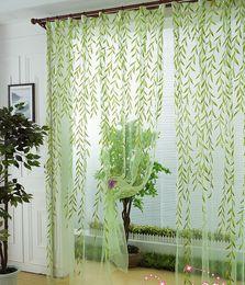 Wholesale Green Scenic window curtain modern rustic balcony window screening curtain tulle home decoration fabric decorative curtain leaf