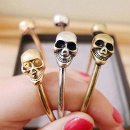 Wholesale Exaggerated Fashion Simple Personality Skull Bronze and Antique Silver Cuff Bracelet B28 B29