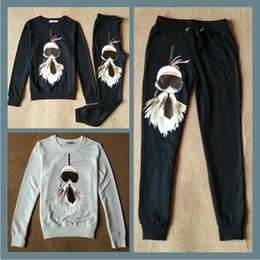 Wholesale 2 Set Europe Style Women and Big Girls Long Sleeve Casual Top Pant Tracksuits Women Clothing Autumn Outfits B