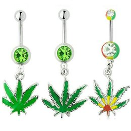 Wholesale 316L Surgical Stainless Steel Crystal Rhinestone Belly Button Navel Bar Rings New Body Piercing Jewelry Dangling Maple Leaf Charms