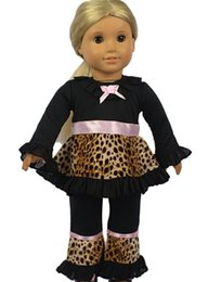 Wholesale 2015 Latest Leopard Long Sleeve Blouse Pants Outfit Doll Clothes for Inch Dolls Cute American Girl Doll Clothes