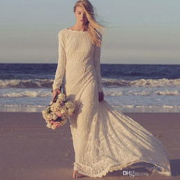 Vestidos Real Image 2016 New Style Long Sleeves Lace Beach Bohemian Wedding Dresses Court Train Romantic Bridal Gowns