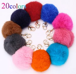 Wholesale 20Colors Trinket cm Fur Ball Keyrings Key Chain Highly Genuine Rabbit Fur Ball Keychain Women Fur Pom Pom Keychain Key Chain