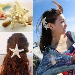 Wholesale Cheap Holiday Accessories - Factory Price Cheap Price beach hair Fashion personality of pure natural starfish beach holiday edge clip hair accessories hairpin F0005