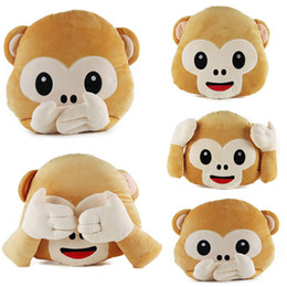 Wholesale 20pcs Cute Monkey Emoji Pillow Stuffed Plush Throw Pillows Chair Couch Cushion Whats app No Saying No Looking No Listening Monkey EMS Free