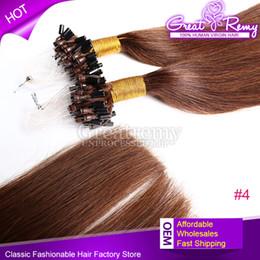 Peut teindre remy extensions de cheveux en Ligne-Micro Anneau Cheveux Micro Boucle Cheveux Extension Remy Cheveux Extention 100s Virgin 18inch # 4 Micro Boucle Anneau Cheveux Ronds Extensions Peut être teint