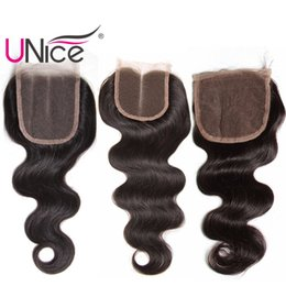 UNice Hair Brazilian Body Wave Free Part Closure Malaysian Virgin Human Hair 4x4 Lace Closures Peruvian Remy Hair Indian Top Closure