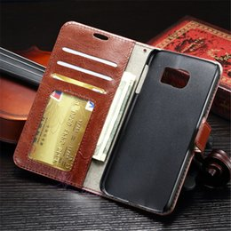 2016 Fashion Wallet Case Flip Folio PU Crazy Horse Photo Frame Leather Case Kickstand Credit Card Slot for Samusng S7 Egde S7 Plus
