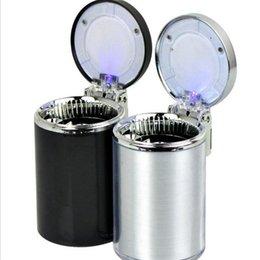 Wholesale Ashtray Top Fashion Round Ashtray Led Light Portable Car Auto Interior Home Cigarette Holder Case Living Accessories