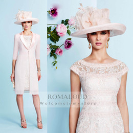 Wholesale 2015 Sheath Off The Shoulder Cap Sleeves Mother Of Bride Dresses With Jacket Lace Knee Length For Evening Dress Mothers Suits