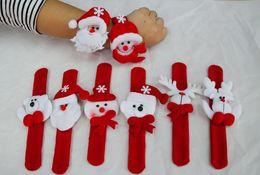 Wholesale Christmas Ornament Christmas slap bracelet bangle Xmas pat circle hand ring Santa Claus snowman bear deer bracelet Christmas gift toy Free