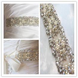 Wholesale 2015 Beautiful Hot Selling Cheap Sexy Belly Belt Waist Crystals Pears Rhinestone Beads Bow Belt Bridal Sashes Wedding Dress Sashes Belts