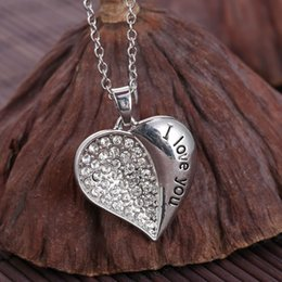 New peach heart pendant necklace Half fill rhinestone Half Engraved I Love You white K plated chain necklace for women gifts